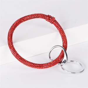 Silicone Rhinestone Wristbands Key Rings Woman Man Fitness Exercise Wrap Bracelet Keys Chain Colorful Bangles Buckle 9 5dm L1