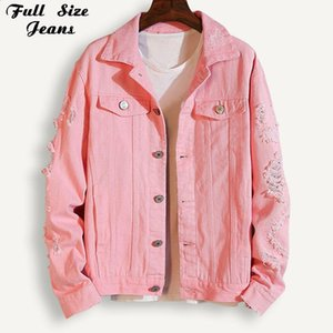 Plus Size Boyfriend Pink Lapel Denim Jacket For Women 3Xl 5Xl Streetwear Loose Ripped Red Basic White Jeans Coat Casual Outwear