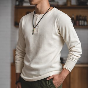 Maden regolarmente adatta a maniche lunghe pullover waffle cotone henry t-shirt crema bianca maglione uomo