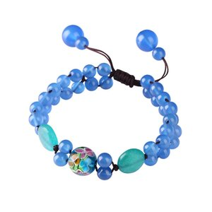 Retro Fashion Liuli Natural Blue Beads Charms Bracelet Double Layer Beaded Chain Bangle Women Ethnic Style Jewelry Gifts Pulsera Z1124