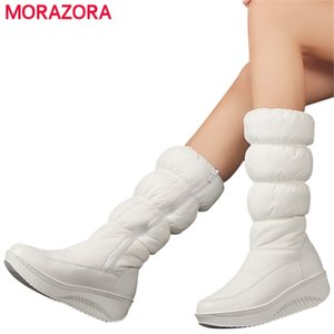 MORAZORA Plus size 35-44 new fashion winter snow boots platform shoes footwear mid calf women boots solid color zipper white 201215