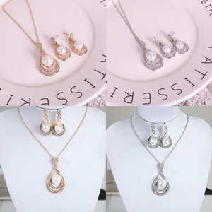 Fashion Pearl Jewelry Set Donne Wedding Crystal Drip Shape Pendant Silver Collane COLLANCE DOGGELO Orecchini per ladies Bride Regalo di fidanzamento 304 G2