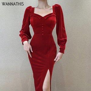 WannaThis Mid-Calf Dress Women Long Sleeve Autumn Sexy Slim Bodycon Puff Sleeve Hem Split Elegant Party Dress Casual Streetwear F1130