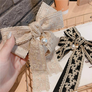 Cute and Sweet Bow Head Jewelry Korean Hair Trim Clip Double Lace Bow Spring Clip Top Embroidery