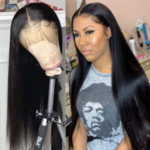 레이스 프론트 인간의 머리 가발 Pre Plucked 13x4 브라질 HD 정면 스트레이트 레이스 프론트 가발 인간의 머리 가발 Glueless 전체 레이스 가발 꼰 가발