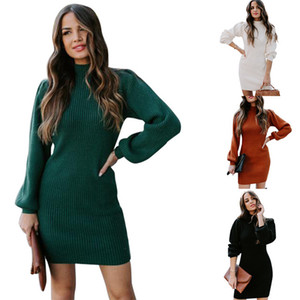 Womens Casual Knit Dresses Turtle Neck Lantern Sleeve Slim Dress Solid Color Thick Women Sexy Sweater Dresses