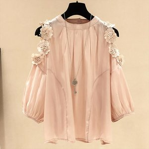 Flower Print Chiffon Blouse Off Shoulder Womens Blouse Breathable Chiffon Shirt tops Plus Size Drop Shipping