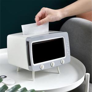 Tissue Box with Phone Holder Desktop Removable Tissue Napkin Storage Case Dispenser Dust-proof Household TV Shape Hands free
