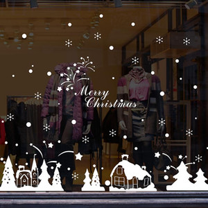 Xmas Snow House Wall Stickers Kids room Bedroom New Year Window Glass Decor Christmas Party Decor Removable Art Decals Murals