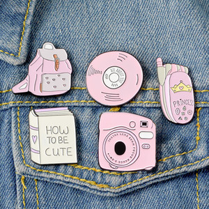 Cartoon Lovely Brooches Pink Polaroid Camera CD Backpack Cute Book Telephone Mobile Phone Lapel pins For Unisex Jewellery Gift 0107.