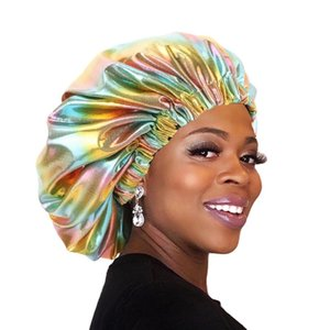Oversize Double Layer Silky Bonnet for Women Day Night Sleep Cap Laser Reversible Hat with Satin Liner Solid Color Head Wear