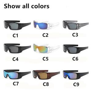 9 colores Plastic Sports Sun Glasses Hombres y mujeres Ciclismo Gafas de sol Sin palabras de impresión Envío gratuito