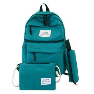 Nylon Women Backpack Large Capacity Student School for Teenage Girl Solid Color Ladies' Travel Shoulder Bag Bagpack Rucksack