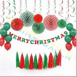 Christmas ornaments 5pcs set DIY Tissue Paper Tassel Garland for home Kids festival Party Decorations show Favors Supplies