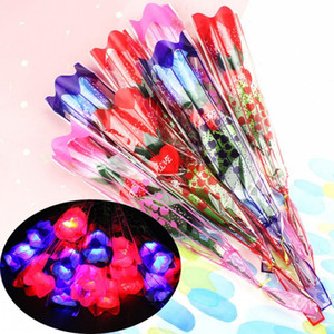 LED Light Up Rose Flower Glowing Valentines Day Wedding Decoration Fake Flowers Party Supplies Decorations simulation rose