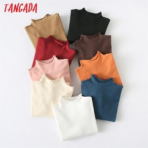 Tangada autumn winter women turtleneck sweater vintage ladies basic knitted jumper tops YU16 201211