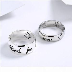 New Women Girl Flower Bird Pattern Anello con timbro cieco per amore lettera anello regalo per amore coppia gioielli di alta qualità