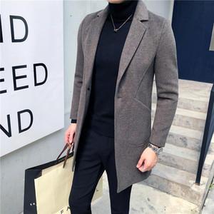 in autumn and winter 2020 men's windbreaker men's extra warm medium length woolen coat casual coat fashion