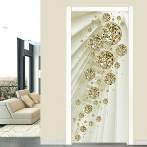 3D Door Sticker Modern Abstract Golden Ball Mural Wallpaper Living Room Bedroom Luxury Home Decor Self-Adhesive 3D Door Poster