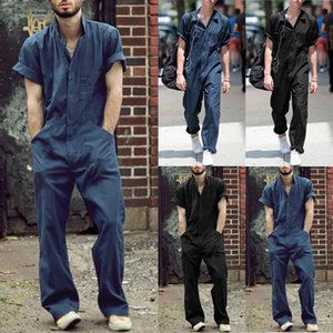 2020 Men Overalls Casual Lapel Jumpsuit Black Loose Romper Fashion Summer Clothes Short Sleeve Pocket One-Piece Workwear Male