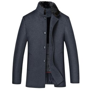 middle aged and elderly business woolen coat men's down liner thickened warm wool collar woolen father's winter coat