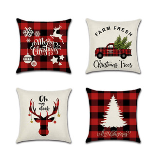 MARRY Christmas Pillow Case Canvas 45*45CM ELK Printed Individual Package Christmas Pillow Cover Retro Plaid Pillowcase