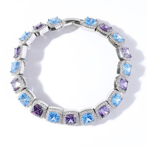 Unsisex Fashion Men Women Bracelets 10mm 7 8inch White Gold Plated Iced Out Colorful CZ Tennis Bracelet for Friend Jewelry Gift