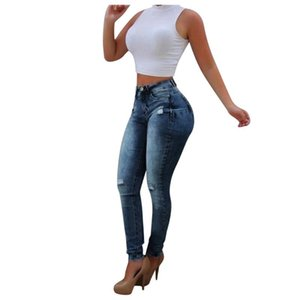 النساء الأزياء هول جيب الجينز البرية يتأهل السراويل الضيقة النساء عالية الخصر السراويل سليم صالح السراويل ربيع الخريف تمتد