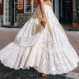 Maxi Lace Skirt Women % Cotton Casual Tassel Lace-up Waist Elastic Hollow Out Long Skirts Summer Beach Holiday Skirt New