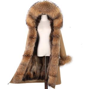 Lavelache X-Long Parka Parka Chaqueta de invierno Mujeres Real Piel Abrigo Gran Mapache Natural Fur Hood Streetwear Streetwear Outerwear Detachable NUEVO 201207