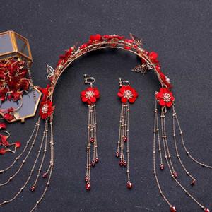 Forneven cinese tradizionale colore rosso fiore copricapo accessori per capelli handmade lungo nappa fascia orecchini set di gioielli set Q1123