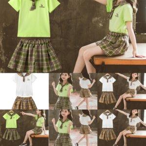 DJB Baby Girls Clotheessets Falda Vaquero Camisa Leopardo Estampado Niños Siguiente para ropa Child y Tocado Trajes Niños Niños
