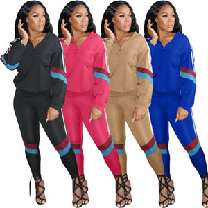 womens two piece set tracksuit coat pants outfits long sleeve coat and pant 2020 autumn leisure sports two piece jogging suits H9125