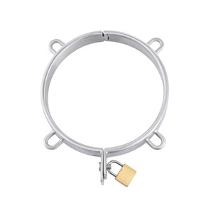 Exquisite Stainless Steel Neck Ring Collar Necklet With 4 Ring Restraint Bondage Adult Bdsm Sex Toy For Male Female Y201118