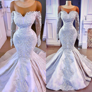 Long Sleeve Elegant African Women Bride Wedding Gowns Sexy Trumpet Mermaid Lace Satin Luxury White Wedding Dress 2021