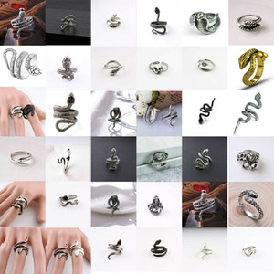 20 Styles Retro Gothic Snake Animal Vintage Jewelry Men Women Fashion Stainless Steel Punk Open Adjustable Ring Jewelry