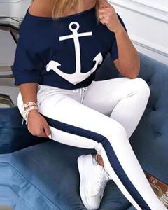 2020 Summer Women's Tracksuit Sets Two Piece Outfits Short Sleeve Off Shoulder Anchor Female T Shirt Set Women Sport Pant Suits A1111