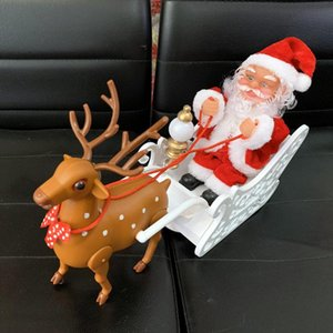 Hot sale super classic cute love santa doll electric music elk cart doll drawing party christmas decoration gift free shipping