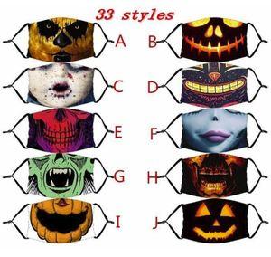 Halloween US на акции многоразовые защитные PM2.5 углеродные фильтры моющийся взрослый ребенок маска для лица 3D покраска тыква хлопчатобумажная маска для лица FY9181