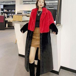 Oversize Jacket Parka Winter Clothing Women Faux Fur Jacket hairy Long Fur Coat Lapel OverCoat Thick Warm Female Plush Coats