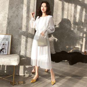 Spring Summer Chiffon White Dress Women Mid Calf Ruffle Sleeve Dress Sweet Slim Summer Casual Ladies Holiday Party