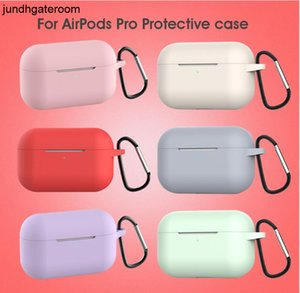 FactoryK6JIThick DHL Liquid Silicone 100pcs Waterproof Newest for pingguo AirPods Pro with Metal Buckle 12 Colors Optional Earpbuds