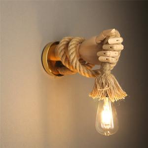 Retro estilo industrial cânhamo corda parede luz luminária simples criativo mão forma lâmpadas de parede corredor corredor interior e27 vaidade luz