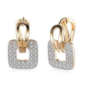 Hemiston classico moda bianco quadrato pavimentazione zircone principessa orecchini per ragazza donne regalo