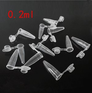 2017 New 10000 Pcs 0.2ml 0.5ml Round Bottom Centrifuge Tubes w Attached Caps Clear White