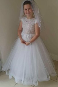 Cheap Lace 2020 Flower Girl Dresses A-line Tulle Little Girl Wedding Dresses Cheap Communion Pageant Dresses Gowns ZJ7041