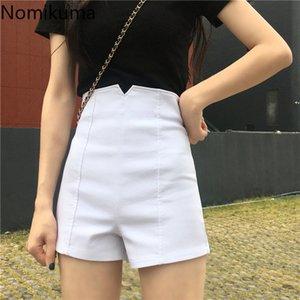 Nomikuma High Vita Pantaloncini Donne Solid Colour Zipper Coreano Pantaloni corti Lady Casual Fashion 2020 Estate New Streetwear 3A673 Z1205