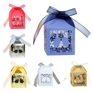 100pcs Christmas Bell Hollow Cut Favor Gift Candy Box Storage with Ribbon Baby Shower Wedding Party Supplies