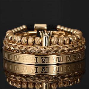 Lujo Romano Royal Crown Charm Bracelet Hombres Acero inoxidable Geometría Pulseiras Hombres Abierto Pulseras ajustables Pareja Joyería Regalo