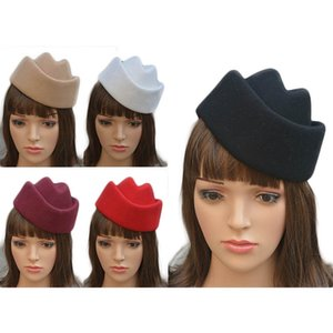 Pure Color Womens Boat Fascinator Millinery Base Base Aeromoça Air Hostesses Pillbox Retro Hat Millinery A138